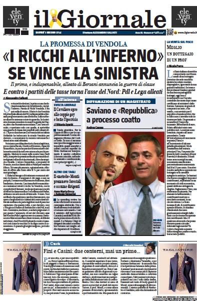 Front page of Il Giornale newspaper from Italy