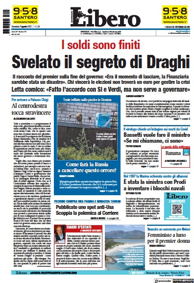 Front page of Libero newspaper from Italy