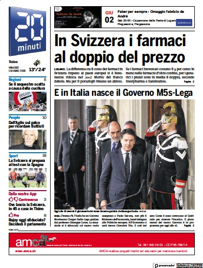Front page of 20 Minuti newspaper from Switzerland