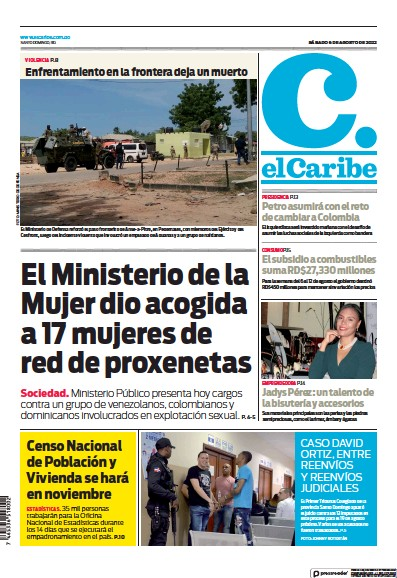 Front page of El Caribe newspaper from Dominican Republic