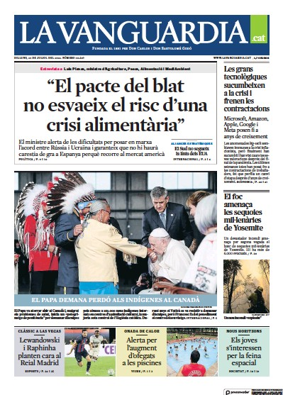 Front page of La Vanguardia (Catalan) newspaper from Spain