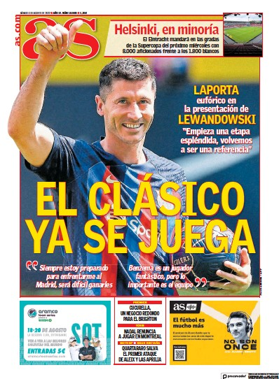 Front page of Diario AS (Levante) newspaper from Spain