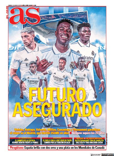 Front page of Diario AS (Catalunya) newspaper from Spain