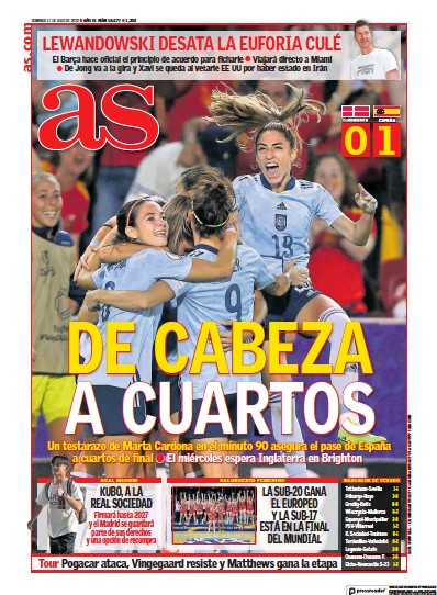 Front page of Diario AS (Galicia) newspaper from Spain