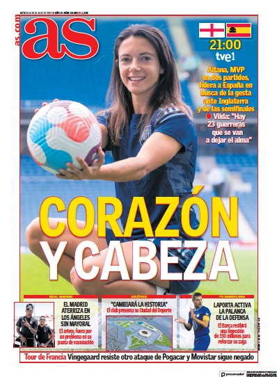 Front page of Diario AS (Las Palmas) newspaper from Spain