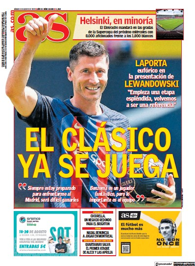 Front page of Diario AS (Andalucia) newspaper from Spain