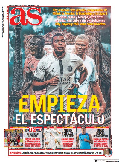 Front page of Diario AS (Sevilla) newspaper from Spain