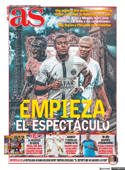 Front page of Diario AS (Valencia) newspaper from Spain