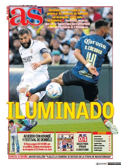 Front page of Diario AS (Pais Vasco) newspaper from Spain