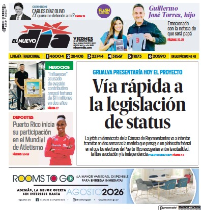 Front page of El Nuevo Dia newspaper from Puerto Rico