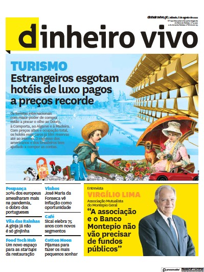 Front page of Dinheiro Vivo newspaper from Portugal