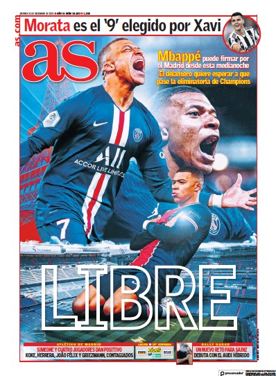Front page of Diario As (Valladolid) newspaper from Spain