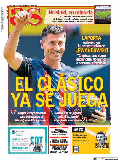 Front page of Diario As (Baleares) newspaper from Spain