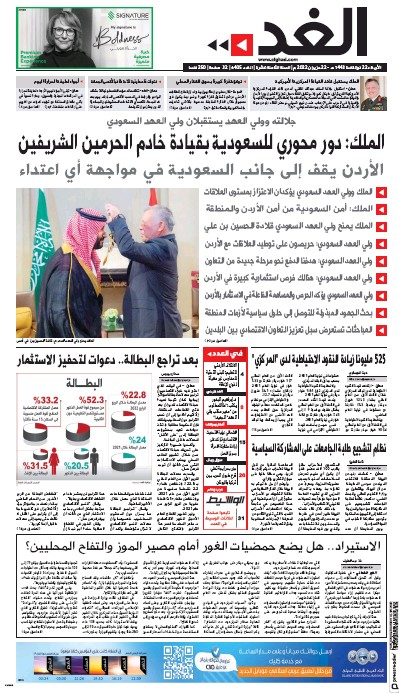 Front page of Al Ghad newspaper from Jordan