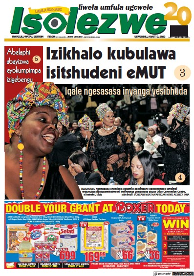 Front page of Isolezwe newspaper from South Africa