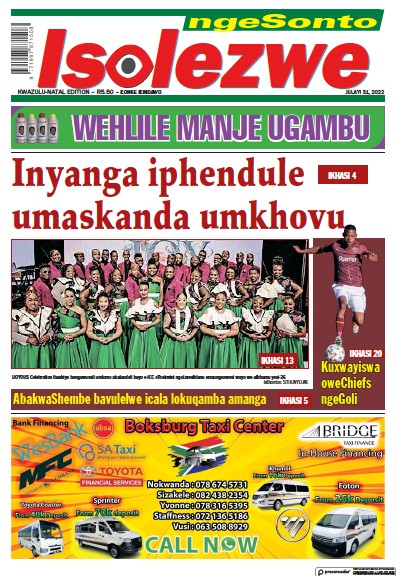 Front page of Isolezwe Sunday newspaper from South Africa