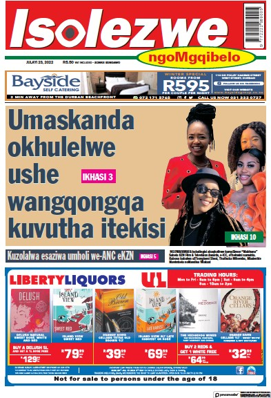 Front page of Isolezwe Saturday newspaper from South Africa
