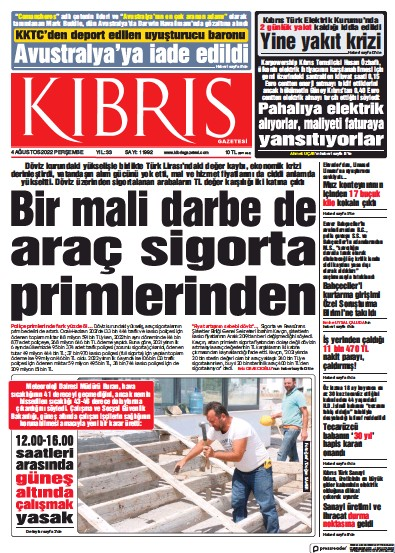 Front page of Kibris Gazetesi newspaper from Northern Cyprus