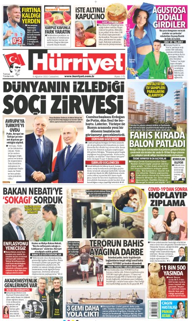 Front page of Hurriyet Print Edition newspaper from Turkey