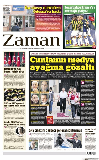 Front page of Zaman newspaper from Turkey