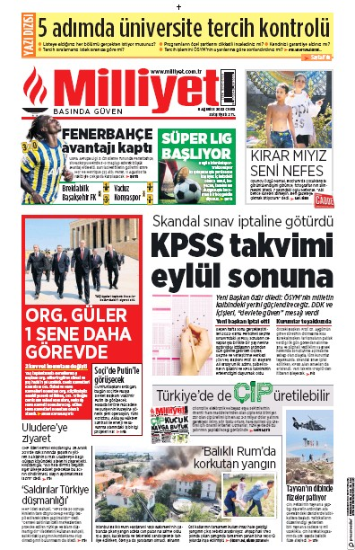 Front page of Milliyet newspaper from Turkey