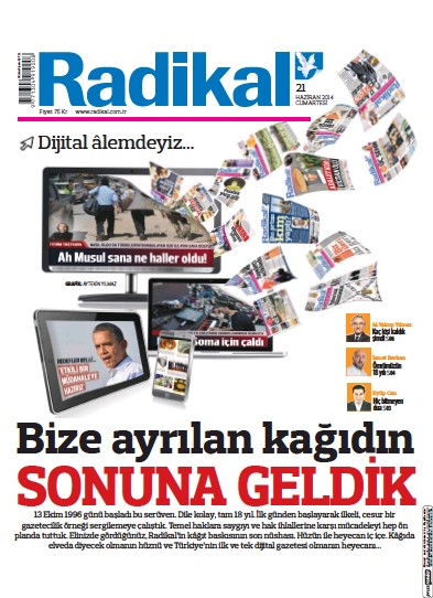 Front page of Radikal newspaper from Turkey