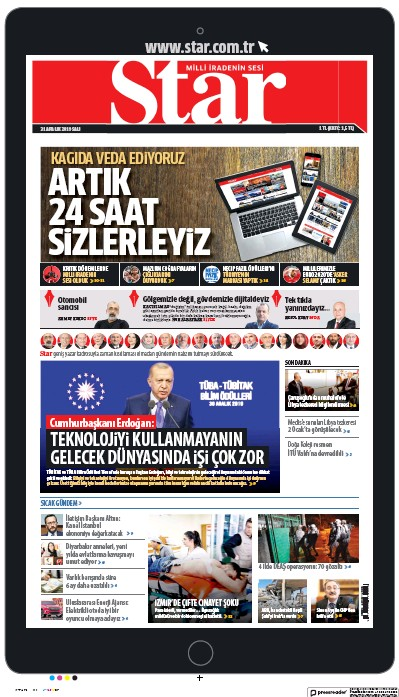 Front page of The Star (Turkey) newspaper from Turkey