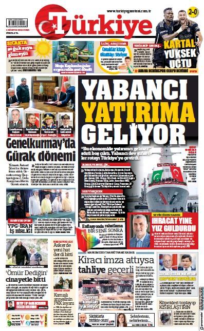 Front page of Turkiye newspaper from Turkey