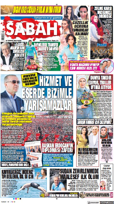 Front page of Sabah newspaper from Turkey