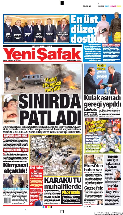 Front page of Yeni Safak newspaper from Turkey