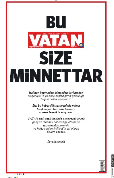 Front page of Vatan newspaper from Turkey