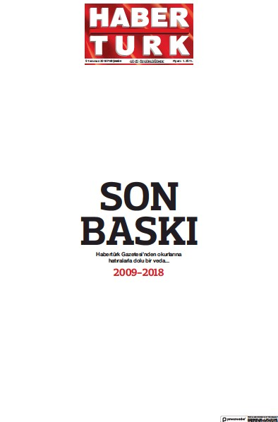 Front page of Haberturk Main newspaper from Turkey
