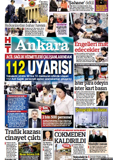 Front page of HT Ankara newspaper from Turkey