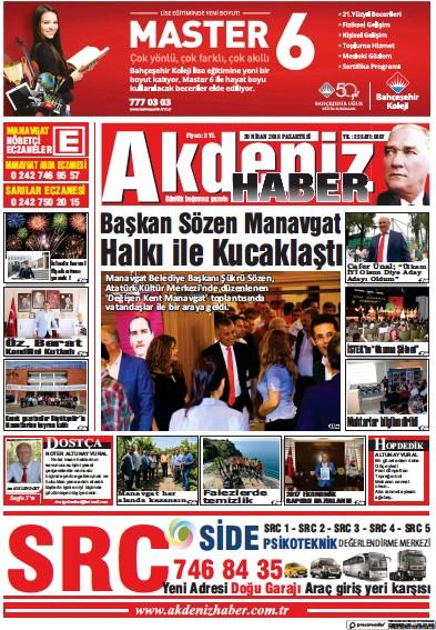 Front page of Akdeniz Haber newspaper from Turkey
