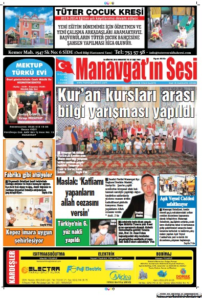 Front page of Manavgat'in Sesi newspaper from Turkey