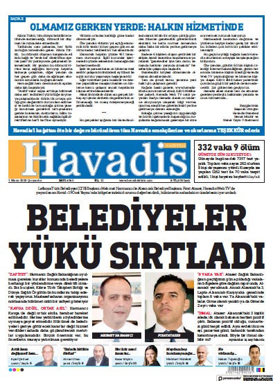Front page of Havadis Gazetesi newspaper from Northern Cyprus