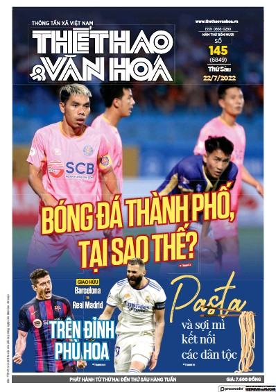 Front page of The Thao and Van Hoa newspaper from Vietnam