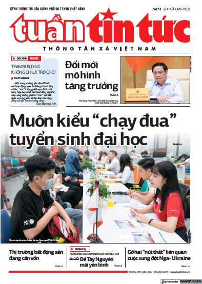 Front page of Tin Tuc newspaper from Vietnam