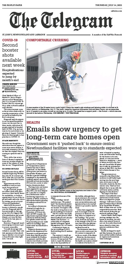 Front page of The Telegram (St. John's) newspaper from Canada