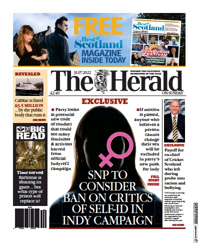 Front page of The Sunday Herald newspaper from Scotland
