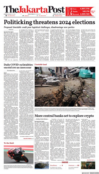 Front page of The Jakarta Post newspaper from Indonesia