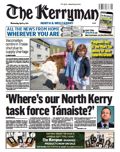 Front page of The Kerryman newspaper from Ireland