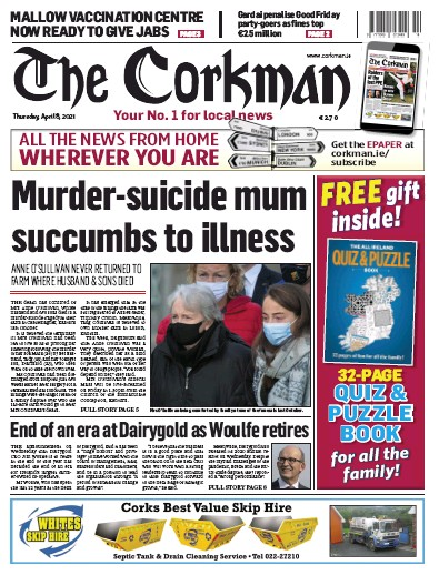 Front page of The Corkman newspaper from Ireland