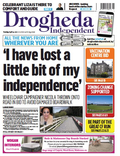 Front page of Drogheda Independent newspaper from Ireland