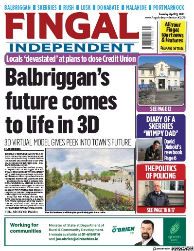 Front page of Fingal Independent newspaper from Ireland