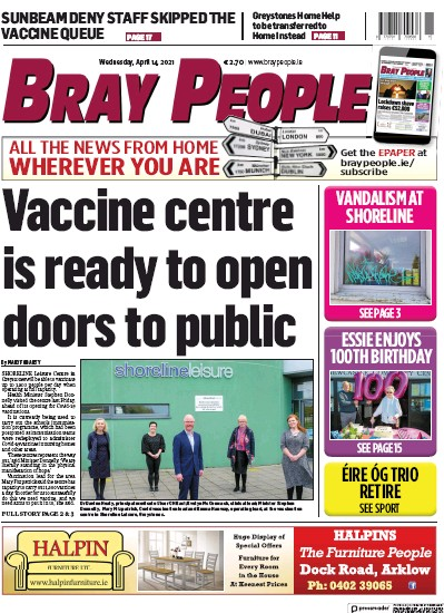 Front page of Bray People newspaper from Ireland
