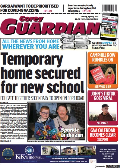 Front page of Gorey Guardian newspaper from Ireland
