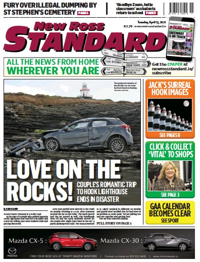 Front page of New Ross Standard newspaper from Ireland