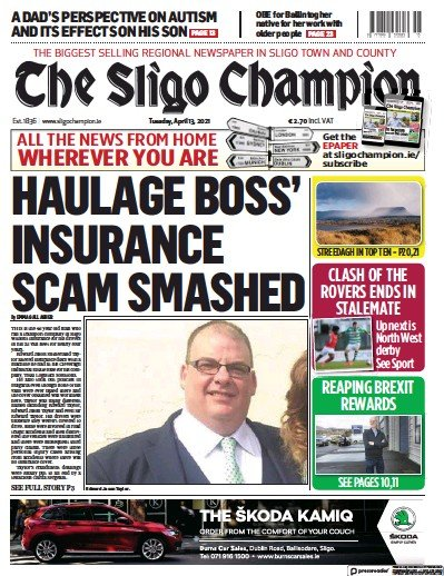 Front page of The Sligo Champion newspaper from Ireland