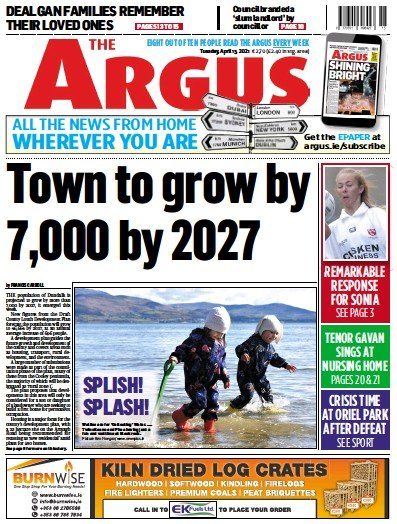 Front page of The Argus newspaper from Ireland